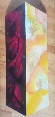 Between two worlds, oil on triangle canvas, 20x60cm each side, Available