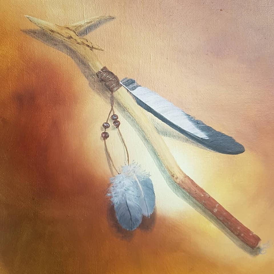 The Shaman's Woodstick, oil on canvas, 30x30cm, Available
