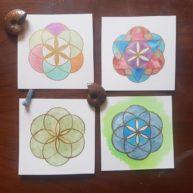 Graines de Vie, aquarelle sur papier Arches, 10x10cm, Disponibles
