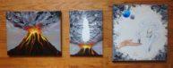 Des ténèbres jaillit la lumière, trilogie à l'huile sur toile, Disponible