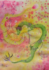 Constellation du Gémeaux, aquarelle et feuille d'or 22k, Disponible