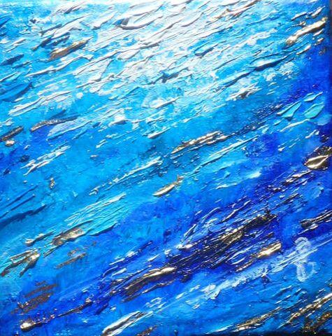La brume bleue, huile sur toile 10x10cm, Disponible