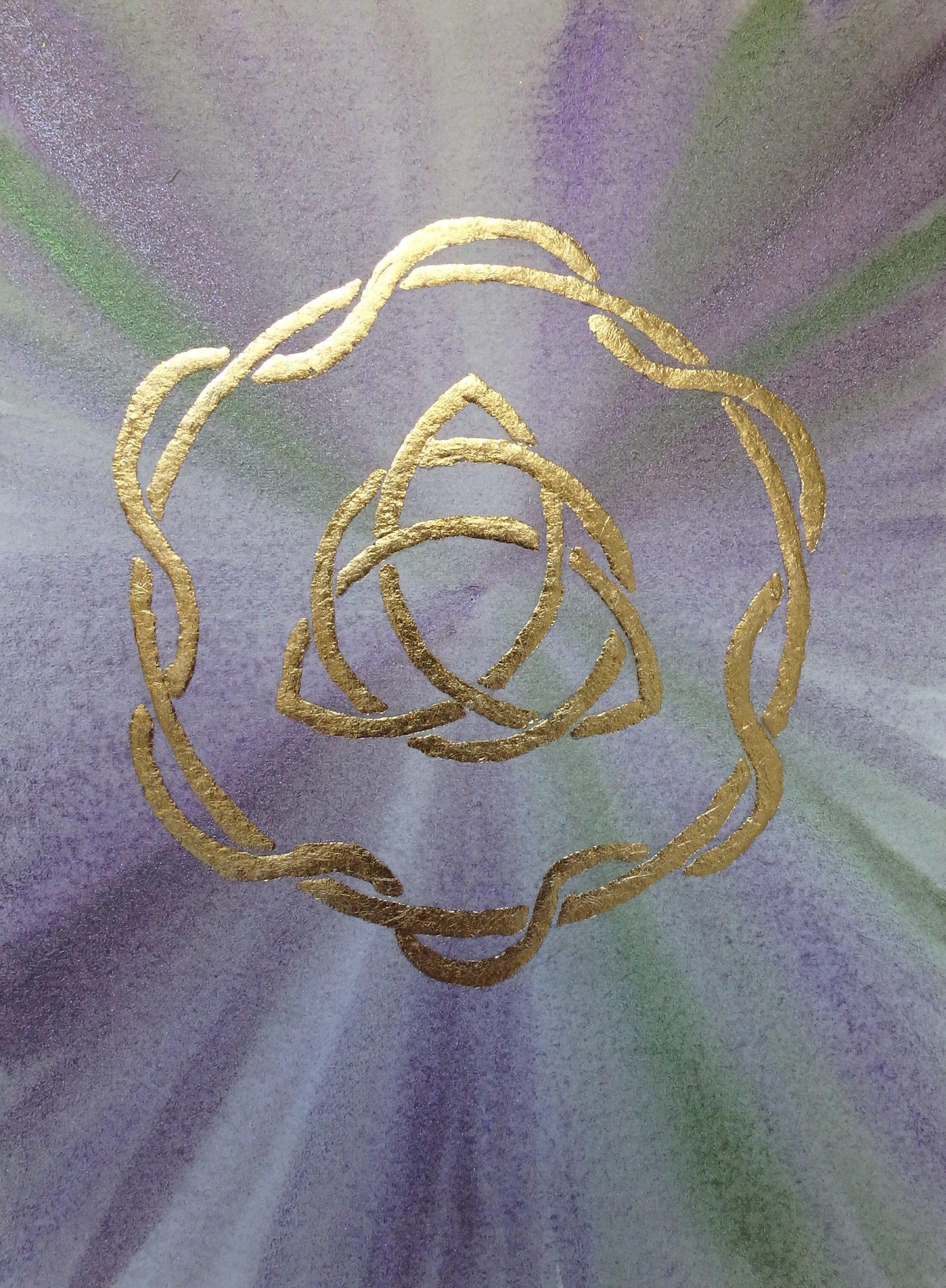 Trinité celtique, aquarelle et feuille dorée, 15x20cm, Disponible