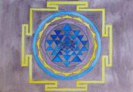 Sri Yantra, aquarelle, 21x30cm, Disponible