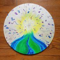 Ascension, huile sur toile circulaire, 40cm, disponible