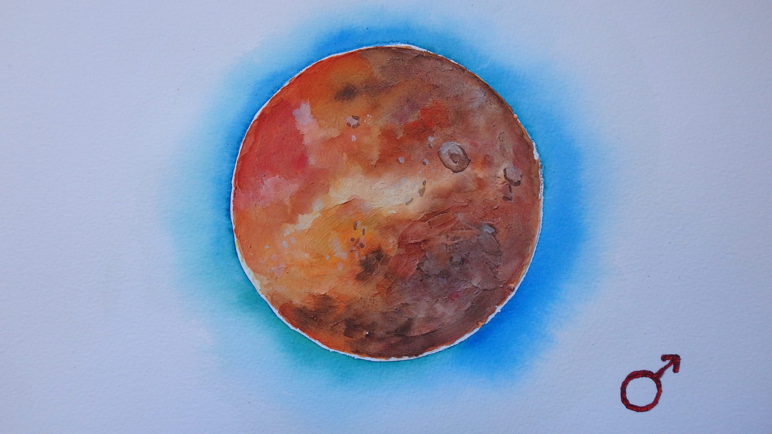 Mars, aquarelle 20x30cm, disponible
