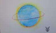 Uranus, aquarelle 20x30cm, disponible