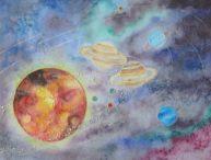 Notre système solaire, aquarelle format A3, disponbible