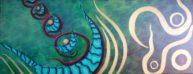 L'arche du dragon bleu, huile sur toile, 20x50cm, disponible